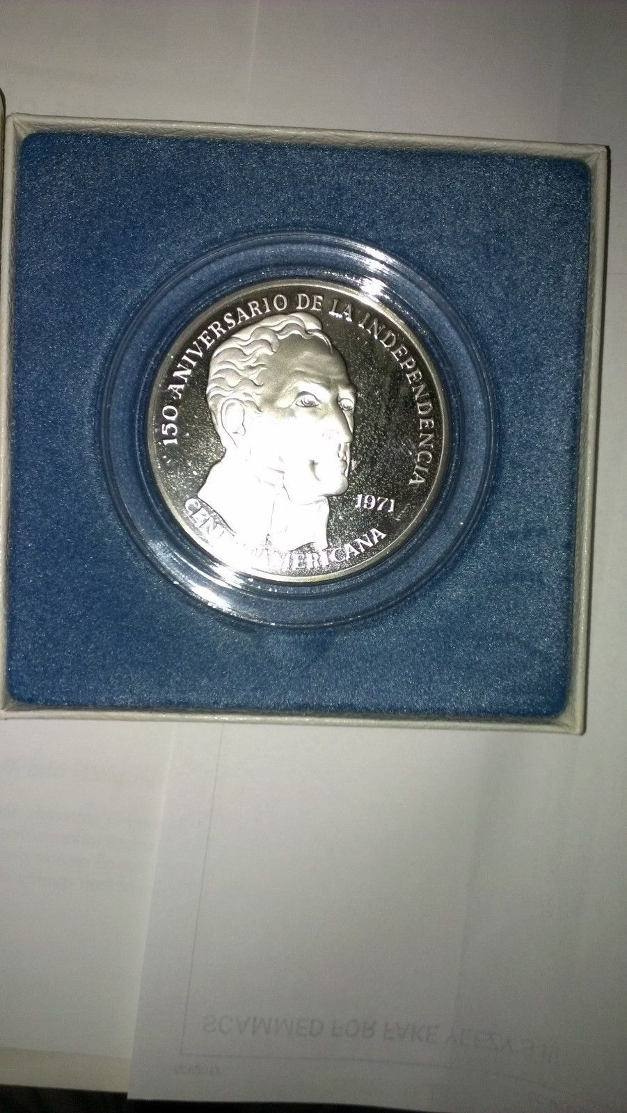 20 Balboas Panama 1971 Proof Coin 2k grn Sterling  + Certificate of Authenticity