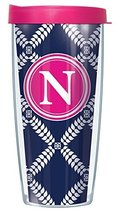 "Navy Royal Diamonds Letter ""N"" On Wrap Pink Initial 22 Oz Super Traveler... - $18.95"