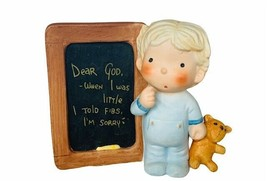 Enesco Figurine Dear God Kids Chalkboard fibs gift decor teddy bear boy ... - $23.17