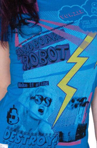 Cardboard Robot Women's Blue New Pollution Destruct Ozone Layer Myself T-Shirt