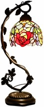 """Rose Stained Glass Lamp Handcrafted 20.5"""" tall Elegant Victorian Vintage... - €138,35 EUR"""