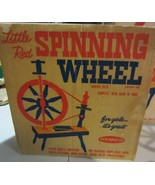VINTAGE LITTLE RED SPINNING WHEEL  BY REMCO WITH BOX JUNIOR SIZE - $95.00