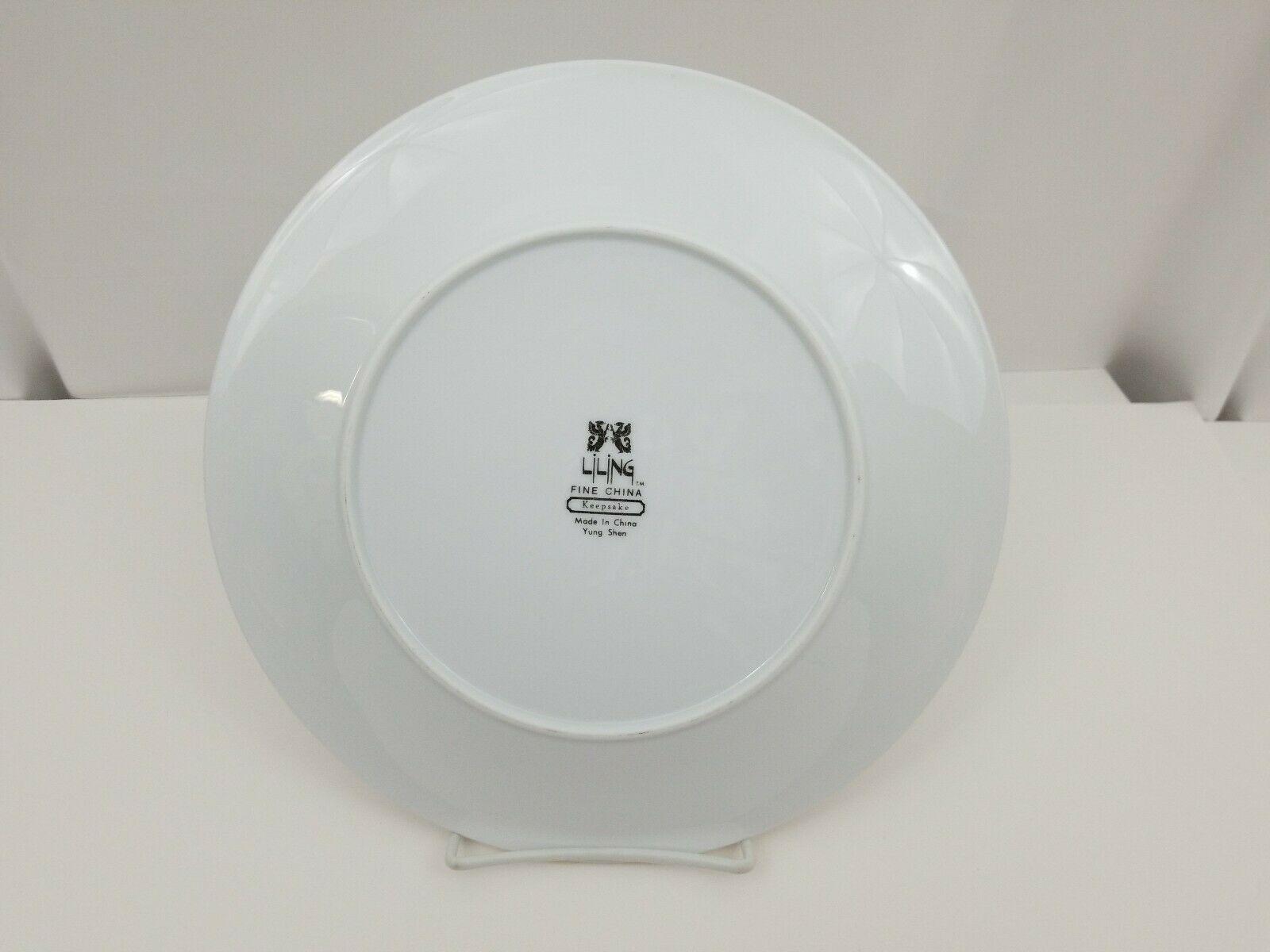 "Liling Fine China Dinner Plates Set of 4 Yung Shen White Roses Keepsake 10 5/8"" image 3"