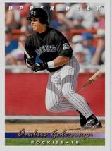 1993 Upper Deck Baseball Card, #593, Andres Galarraga, Colorado Rockies - $0.99