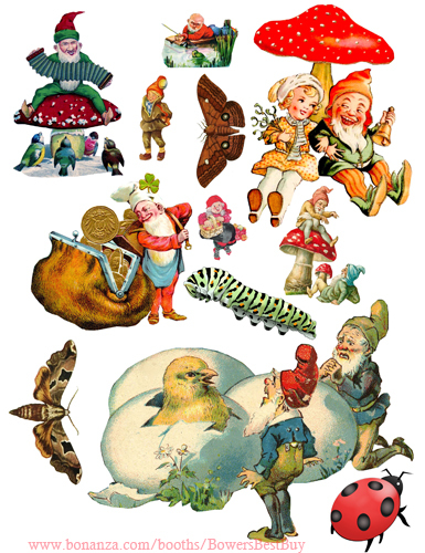 Elves gnomes die cuts clipart digital download craft sheet graphics art images