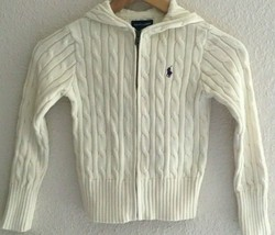 Ralph Lauren Girls' Hooded Cable Knit Sweater Ivory 100% Cotton Size S (7) - $24.99