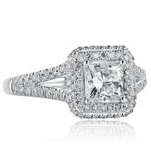 1.56 Ct Princess Cut Diamond Engagement Halo Ring 18K White Gold Split Shank - $2,969.01