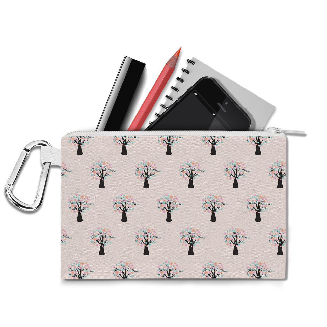 Owls in Blossom Trees Canvas Zip Pouch