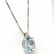 18K WHITE GOLD NECKLACE AQUAMARINE 1.25 OVAL CUT & DIAMOND, PENDANT & CHAIN image 2