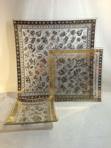 Georges Briard PERSIAN GARDENS 3 Pc Square Platter Plate Saucer - $34.95
