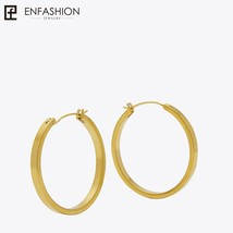 Vintage Circle Large Hoop Earrings Matte Gold color Earings Stainless St... - $19.36