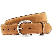 "U-4-42 42"" Nocona Contrast Stitching 1-1/2"" Wide Leather Mens Belt Medium Brown - $28.95"