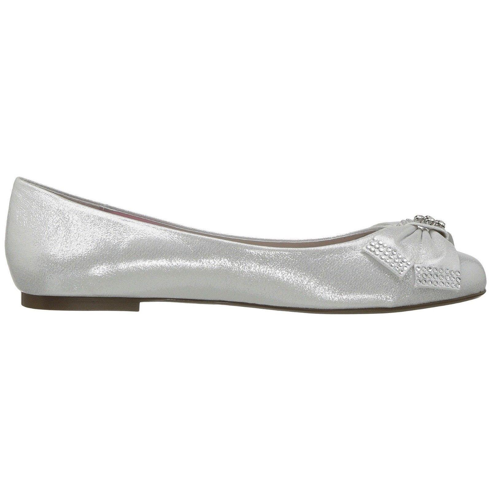 Betsey Johnson Emy Silver Metallic Satin Crystal Bow Flat Shoes 7 NIB