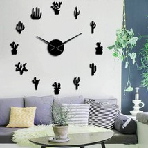 Cactus Plant Large DIY Wall Clock Mexican Style Desert Frameless Mirror ... - $36.39+