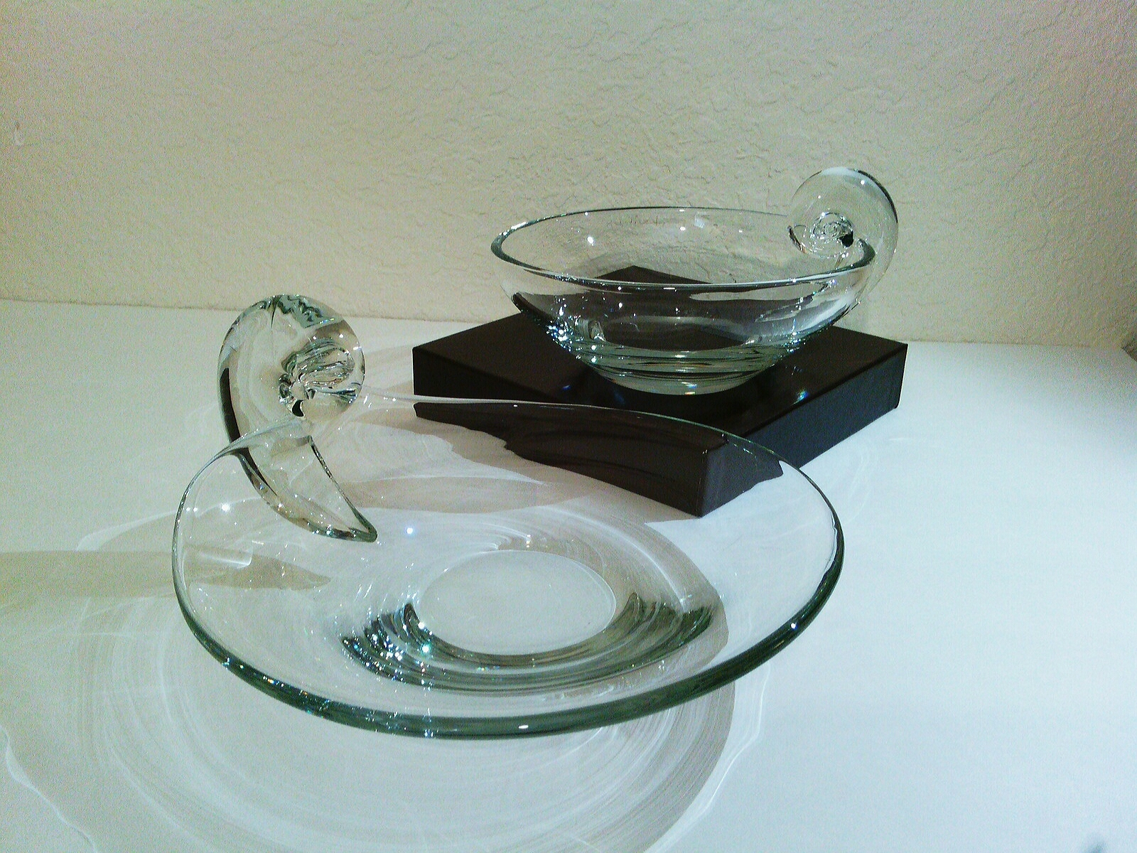 Unmarked John Dreves Steuben Crystal Glass Scroll Olive Dish Platter Set