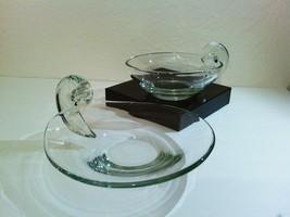 Unmarked John Dreves Steuben Crystal Glass Scroll Olive Dish Platter Set - $185.00