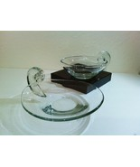 Unmarked John Dreves Steuben Crystal Glass Scroll Olive Dish Platter Set - $185.00