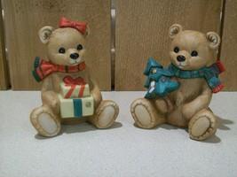 Vintage Homco Pocelain Bisque Christmas Bears  #5104  Set of 2 - $15.00