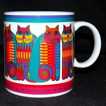 1988 Laurel Burch Rainbow Cat Cousins Striped Tabby Gold Trim Coffee Mug... - $32.99