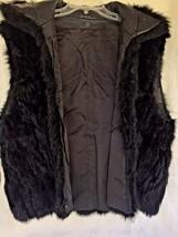Fur Vest Medium Black Leather Collar Zipper Soft Sleeveless Jacket Vinta... - $19.60