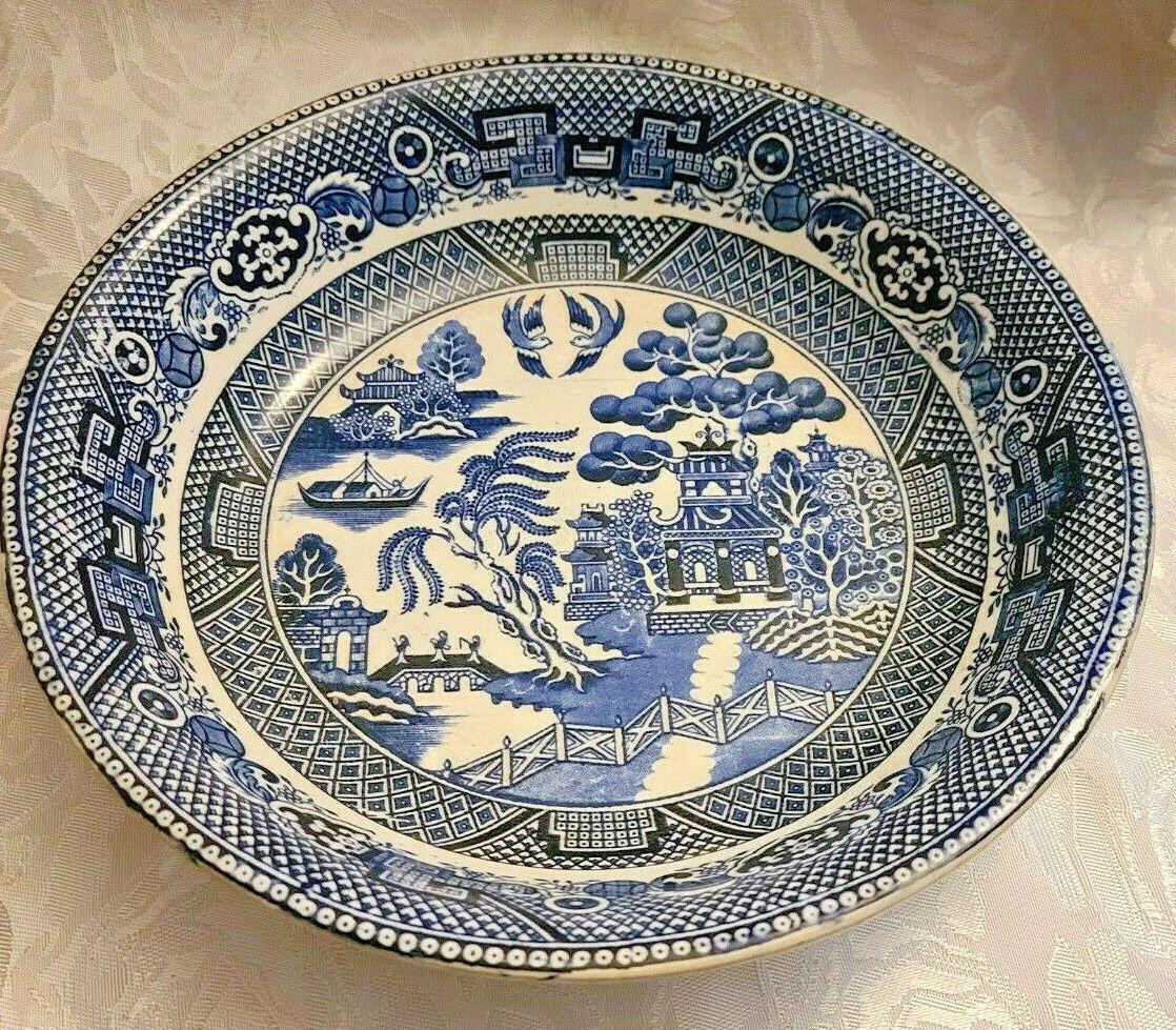 "Societe Ceramique Holland Pottery Blue Willow Pattern Bowl 9 1/2"""