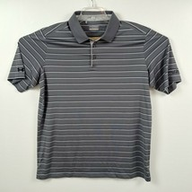 Under Armour Mens Polo Shirt 2XL XXL Loose Gray Black Striped Heatgear SS Collar - $29.88