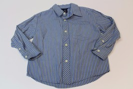 K4656 Boys GAP KIDS 100% cotton blue/yellow stripe BUTTON DOWN SHIRT, si... - $5.48