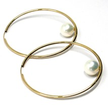 18K YELLOW GOLD CIRCLE HOOPS EARRINGS, TUBE 1.5mm, DIAMETER 5cm, HANGING PEARL image 2