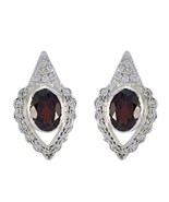 jaipur 925 Sterling Silver classy genuine Red Earring gift UK - $15.03