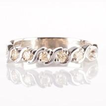 14k White Gold Round Cut Yellow Diamond Wedding / Anniversary Band .18ctw - $640.00
