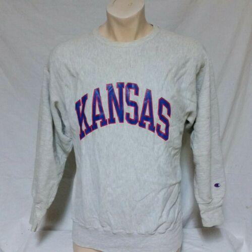 VTG Kansas Jayhawks Champion Reverse Weave Sweatshirt NCAA Script Spell Out XL