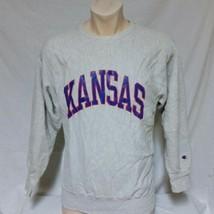VTG Kansas Jayhawks Champion Reverse Weave Sweatshirt NCAA Script Spell ... - $35.99