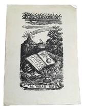 Ex Libris Exlibris Bookplate 1918 M. Ribas Mas Lux Vera Bible - $29.69