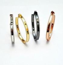 ZirconZ-Shiny Sterling Silver InSideOutSide Rim Pave Signity CZ Hoop Earrings - $159.99