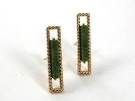 1970's Gold Tone & Green Cufflinks By S In Shield 31317 - $24.99