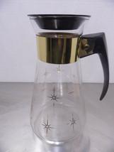 Vintage Corning Atomic Era Coffee Carafe Clear Gold Stars Black Bake Lite handle - $17.82