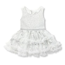 NWT The Childrens Place Baby Girls Silver Metallic Foil Butterfly Tutu D... - $10.99