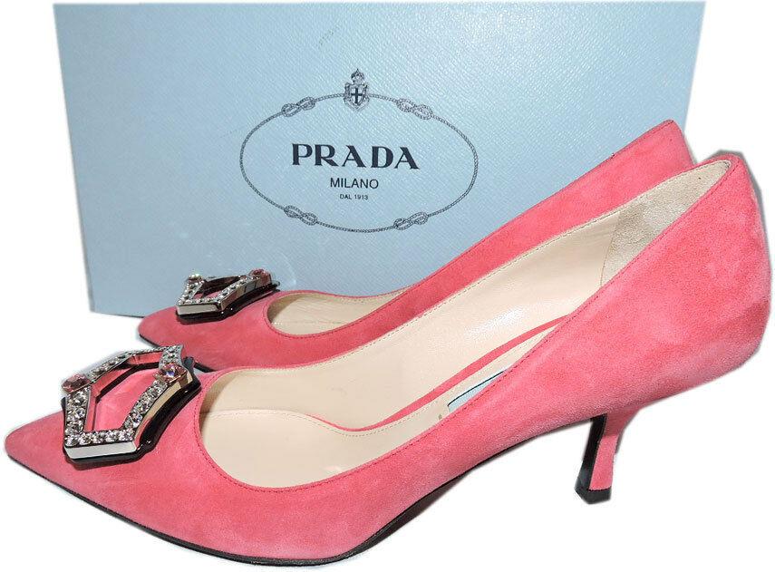 Prada Pink Suede Kitten Heel Pumps Crystals Amethyst Brooch Shoe 36...