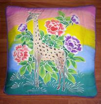 New Handpainted Batik Giraffe Flowers 17x17 Inch Cotton Pillow Cover Bali - $14.03