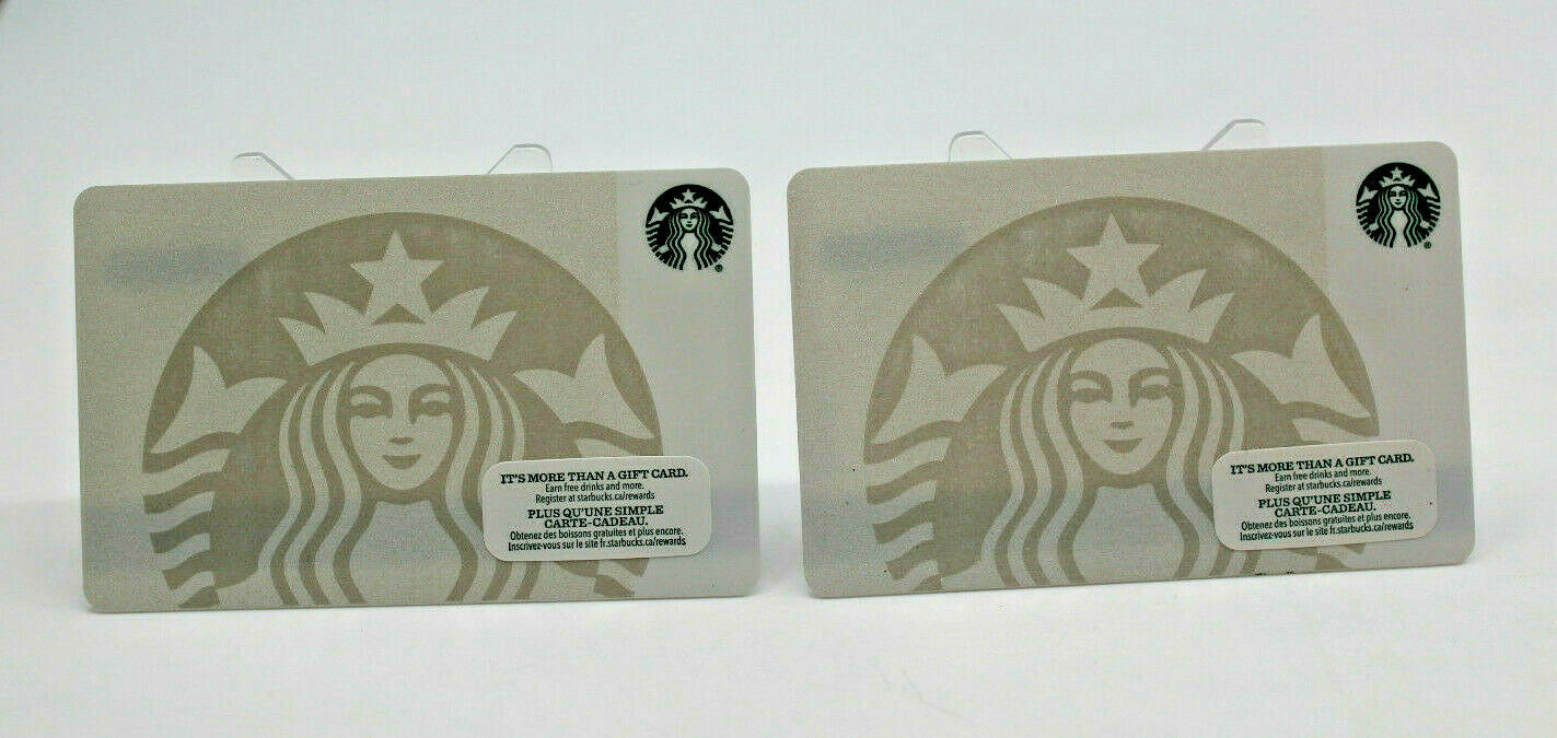 Primary image for Starbucks Coffee 2015 Gift Card Siren Mermaid White Logo Zero Balance Set of 2