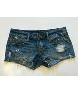 American Eagle Shorts Womens Size 2 Distressed Light Wash Booty Cut 100%... - $11.99