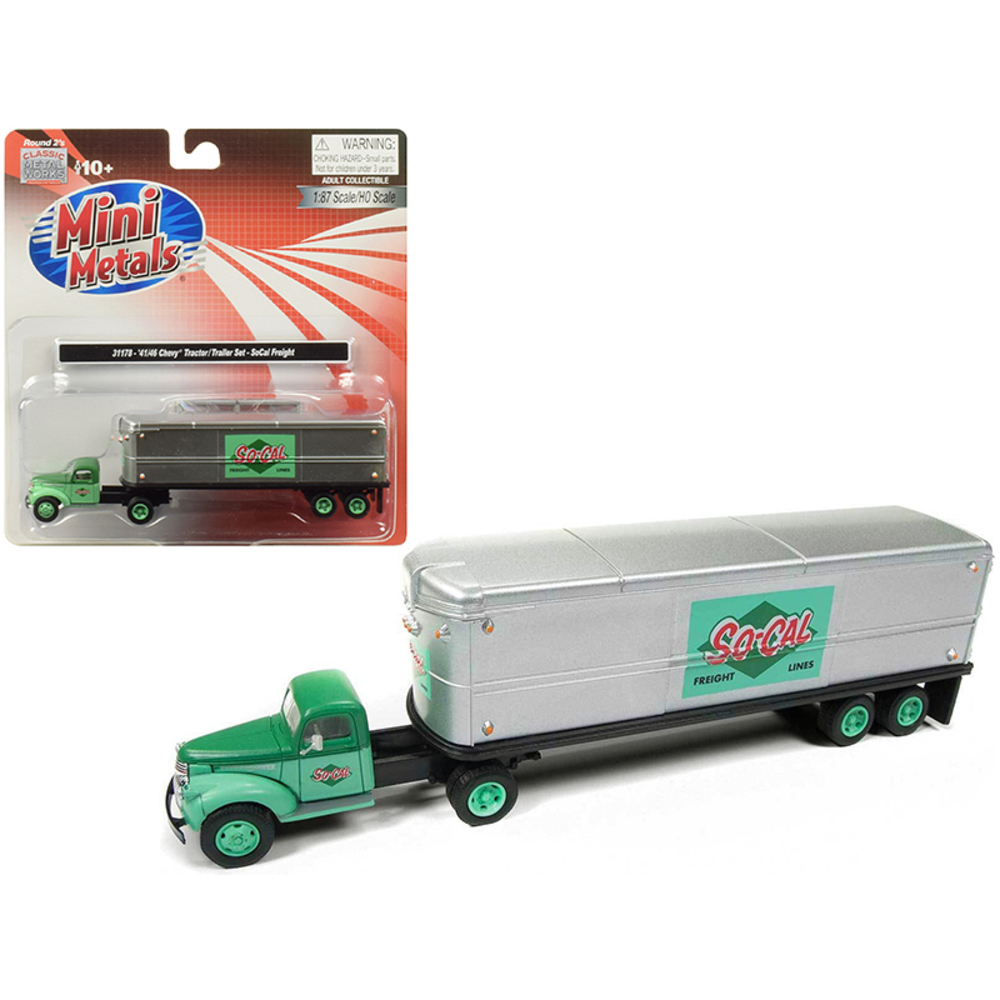 1941-1946 Chevrolet Tractor Trailer Truck So-Cal Freight 1/87 (HO) Scale Model b