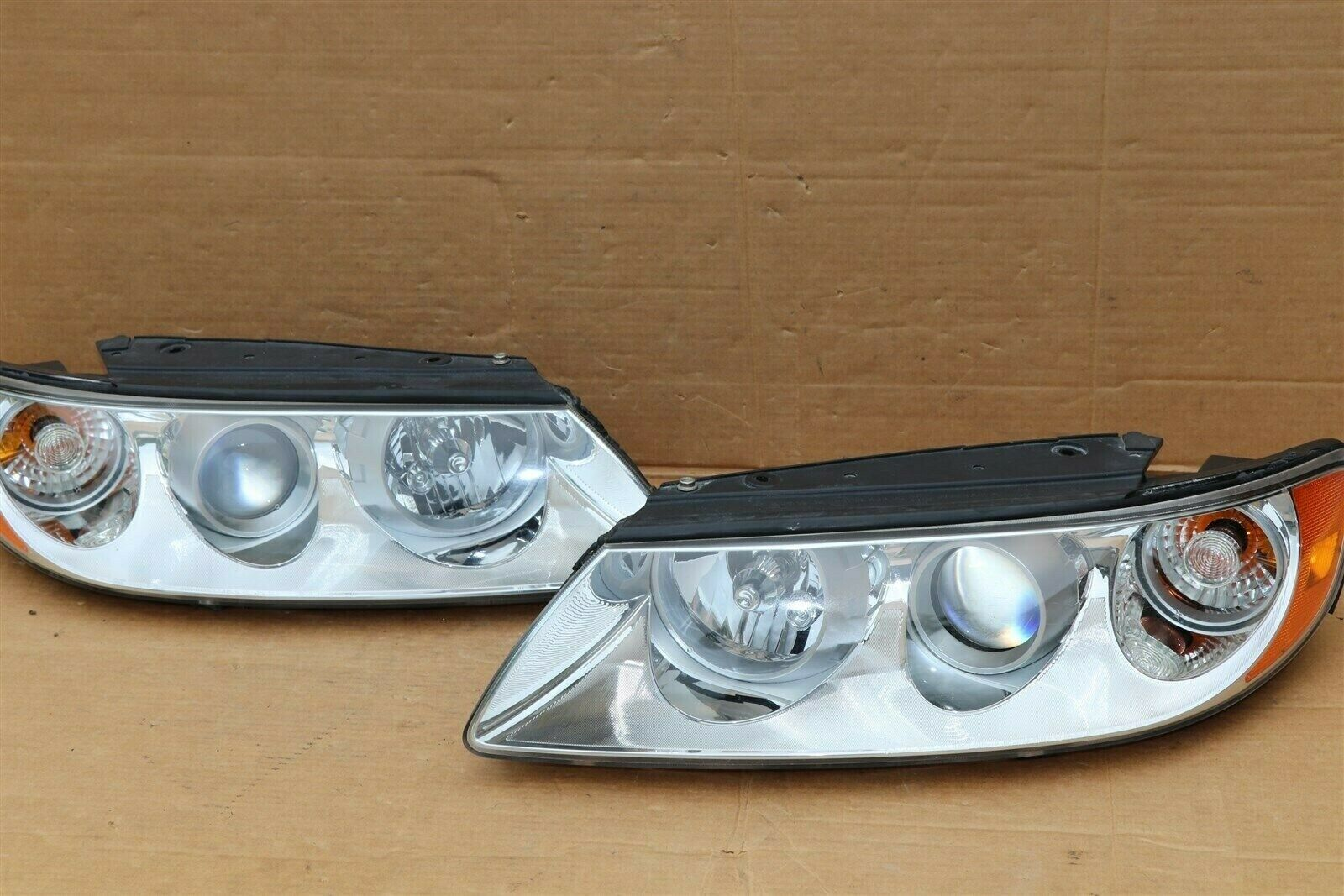 06-07 Hyundai Azera 7-Pin Headlight Head Light Lamps Set L&R - POLISHED