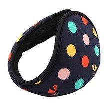 Unisex Women Polka Dot Ski Earmuffs Earwarmers Behind head Wrap Around Grip,Blue - $11.63