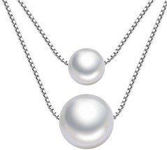 925 Silver Necklace AAAA Grade 8+10mm Boutique Anti-allergy Pearl Neckla... - $33.88