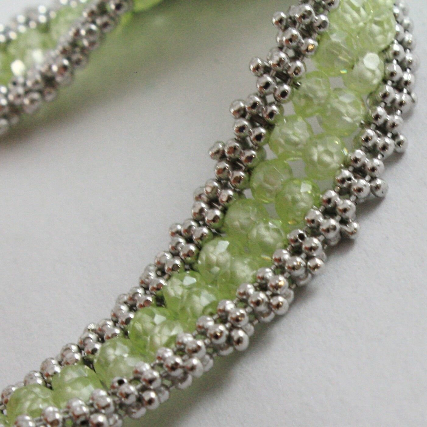Armband Silber 925, Tennis Kugeln Multi Reihen, Peridot Grün, Made in Italien
