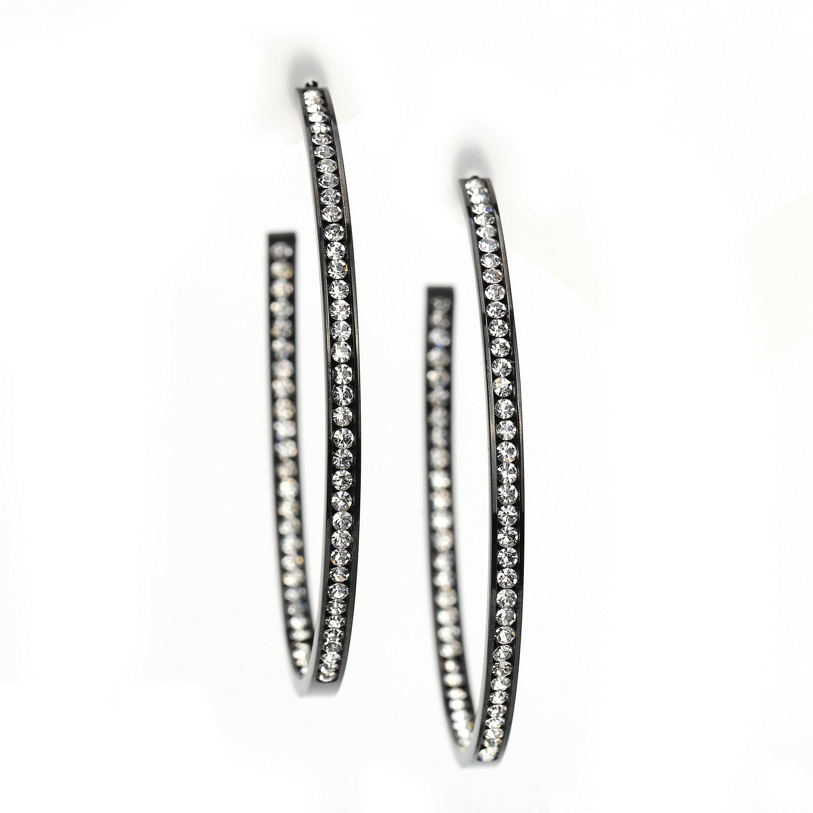UNITED ELEGANCE Black Gun Metal Tone Hoop Earrings With Swarovski Style Crystals