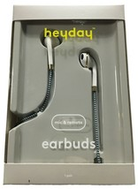 heyday Wired Teal White Braided Cable In-Ear Earbuds Headphones NEW