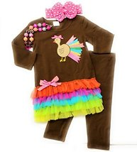 Cute Kids Clothing Toddler Girl/Girls Neon Thanksgiving Turkey Outfit Bo... - $19.99