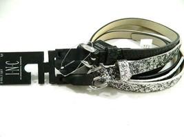 INC Women's Black / Silver Glitter / Textured 2 For 1 Skinny Belts Size L - $8.56